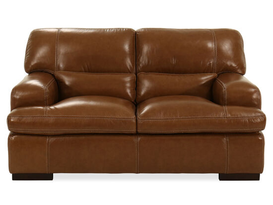 Leather Loveseat in Saddle