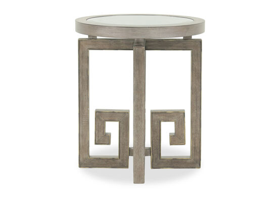 Greek Key Base Transitional Round Accent Table in Brown