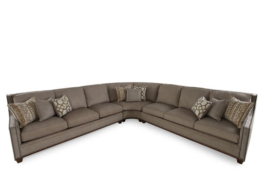 """Traditional 256"""" Nailhead Trimmed Sectional in Sandstone Brown"""