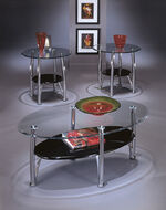 Three-Piece Oval Shaped Contemporary Accent Table Set in Silver