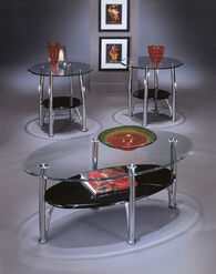 Ashley Dempsey Chrome Finish Occasional Table Set