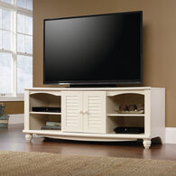 Louvered Doors Transitional Entertainment Credenza in Antiqued White