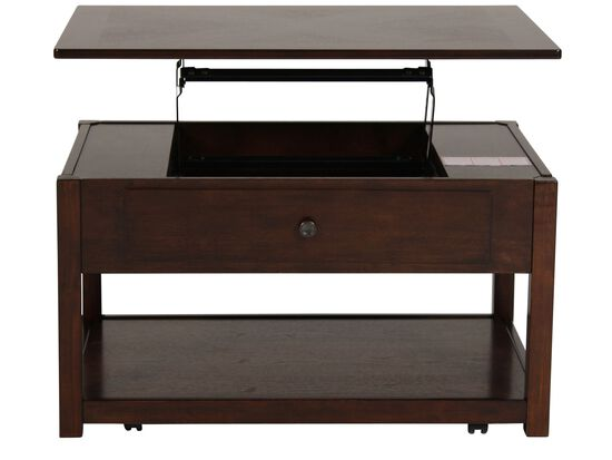 Lift Top Contemporary Cocktail Table In Merlot Mathis