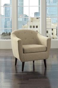 "Button-Tufted Mid-Century Modern 30"" Accent Chair in Beige"