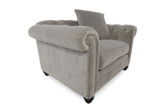 """Button-Tufted Contemporary 35"""" Chair in Steel Gray"""