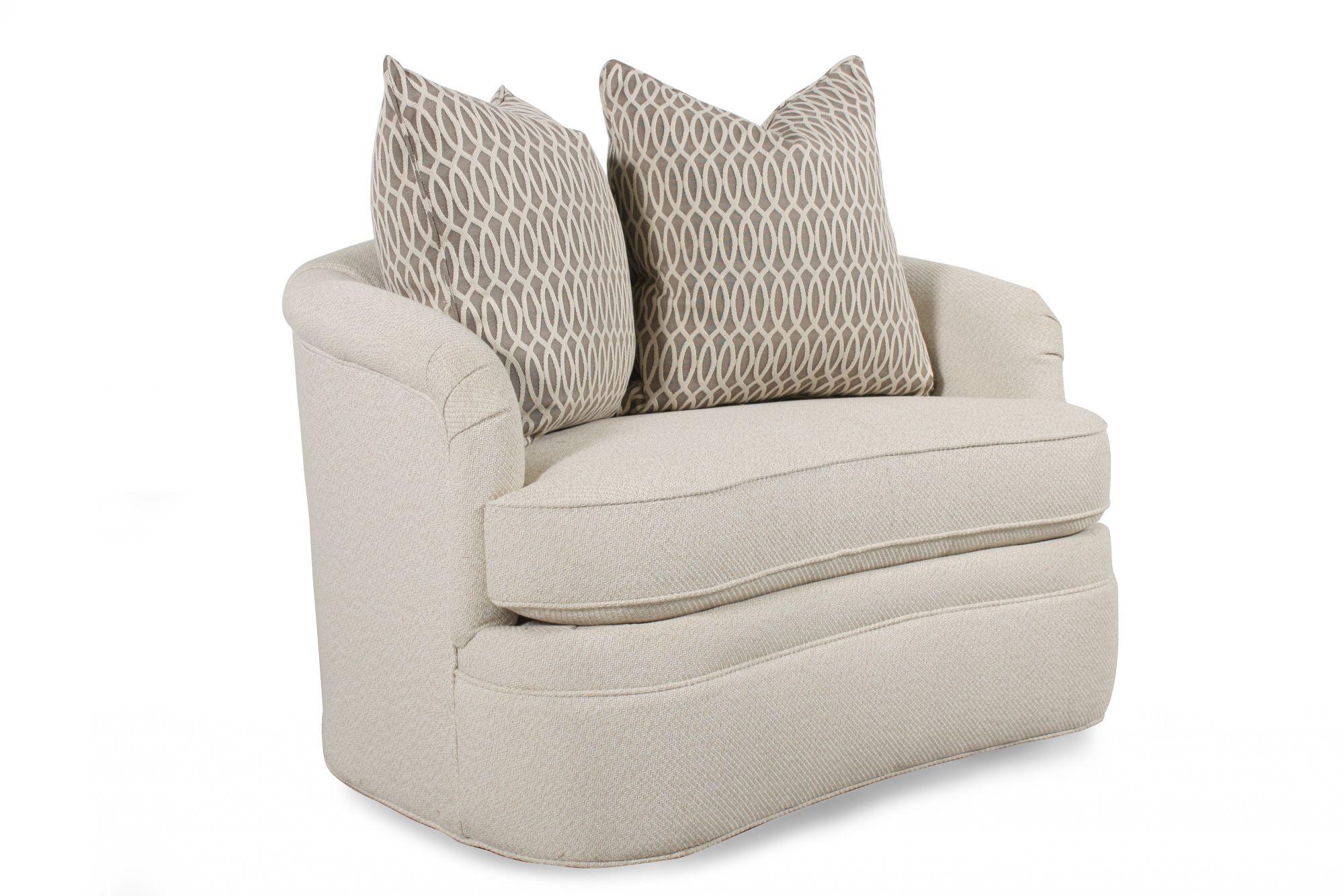 Barrel Style Swivel Chair In Cream