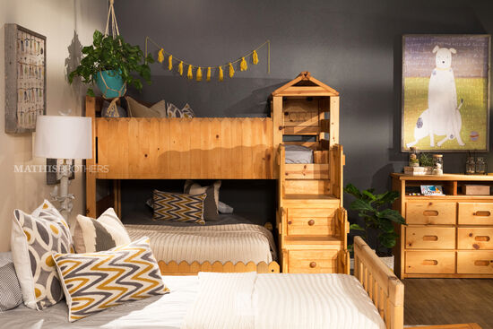 Transitional Youth Loft Bed with Stairway Chest in Medium Brown