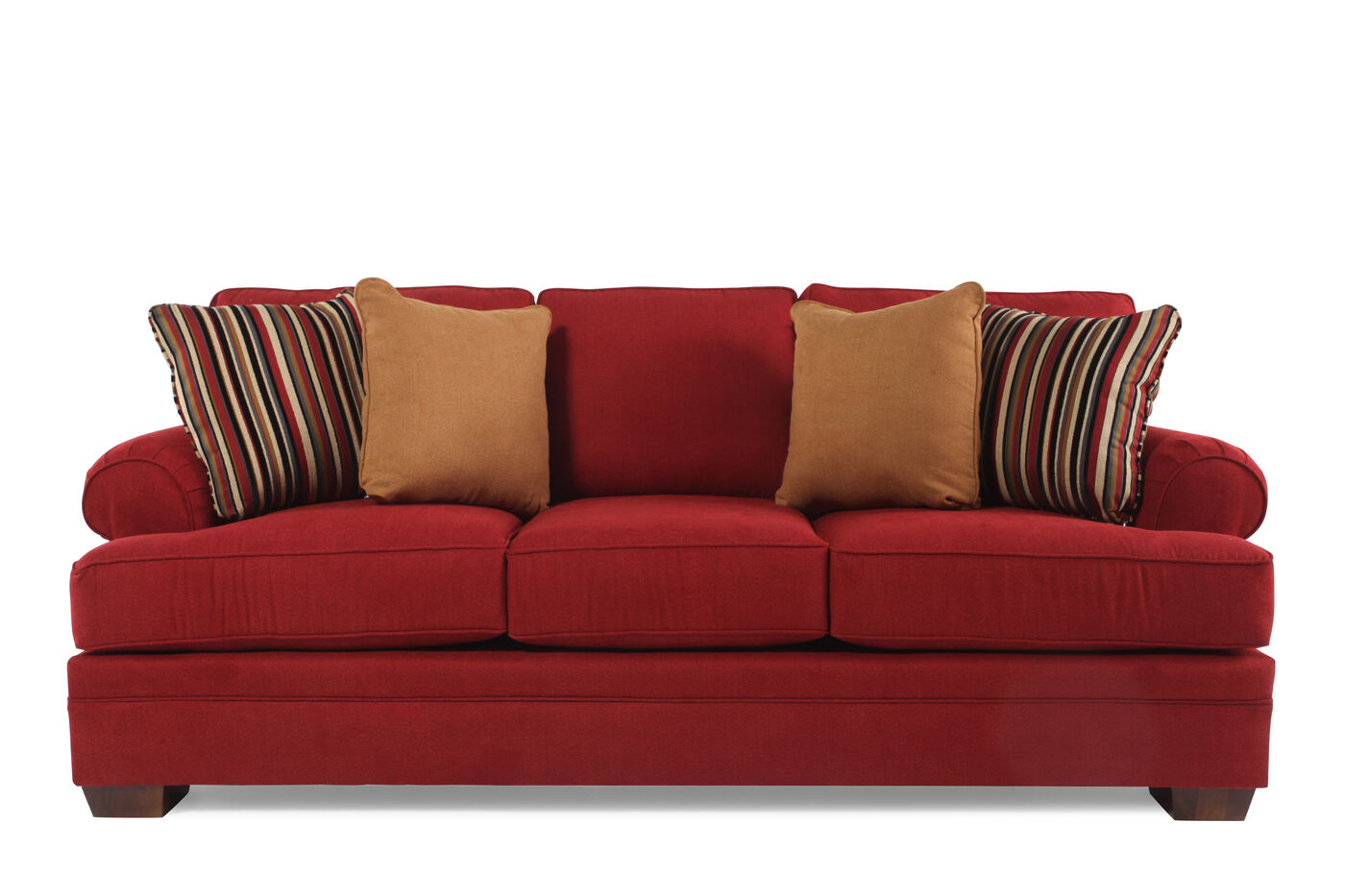 Traditional 89 Quot Sofa In Red Mathis Brothers Furniture