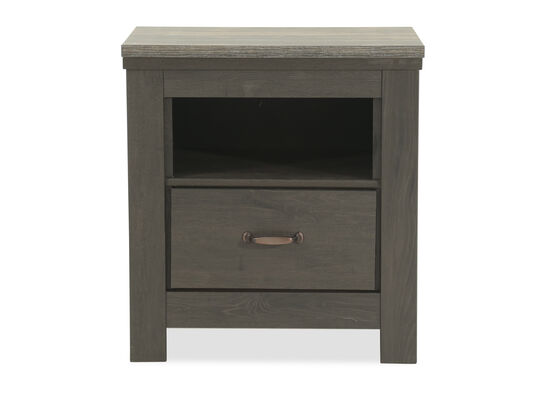 Distressed One-Drawer Youth Nightstand in Gray