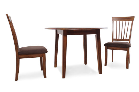 Three-Piece Microfiber Traditional 42'' to 58'' Dining Set in Dark Hickory