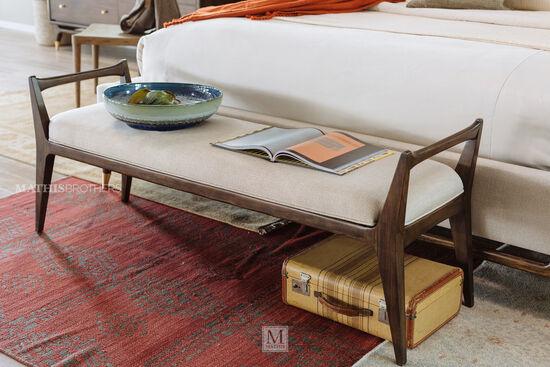 """Mid-Century Modern 62"""" Bench in Cream"""