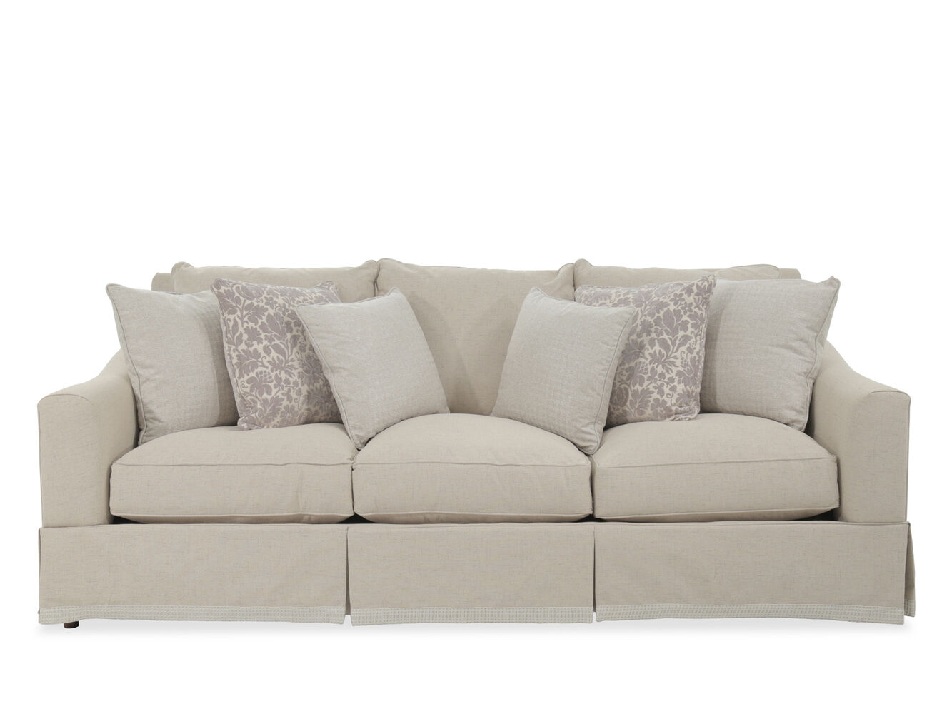 Traditional 98 Quot Skirted Sofa In Beige Mathis Brothers