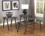 Three-Piece Patterned Contemporary Accent Table Set in Brown