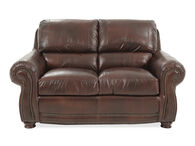 """Naihead-Trimmed Traditional 63"""" Loveseat in Brown"""