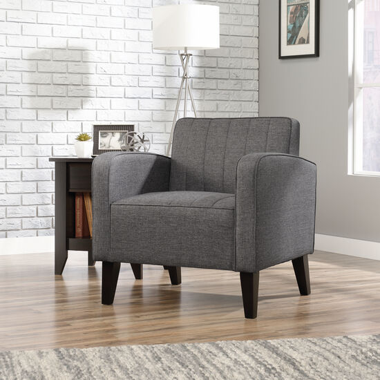 """Channel-Quilted Traditional 31"""" Accent Chair in Dark Gray"""