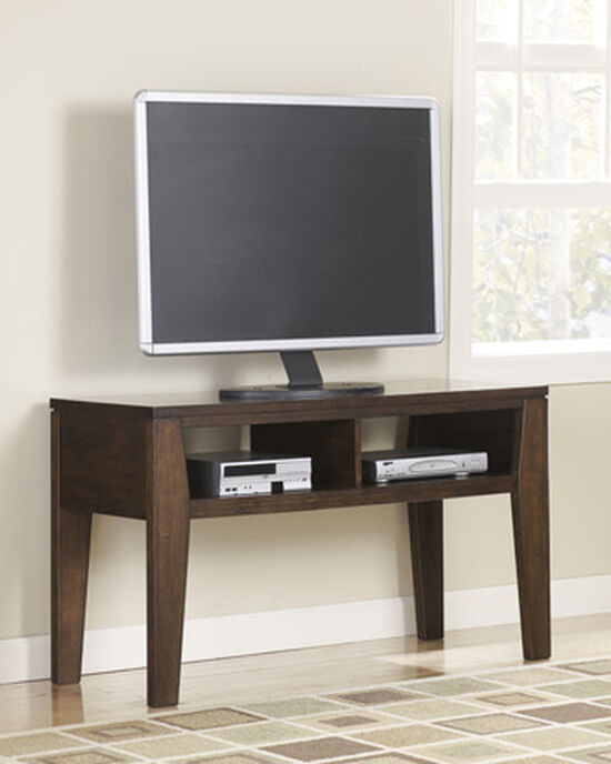 Beveled Glass Top Casual TV Stand in Dark Brown