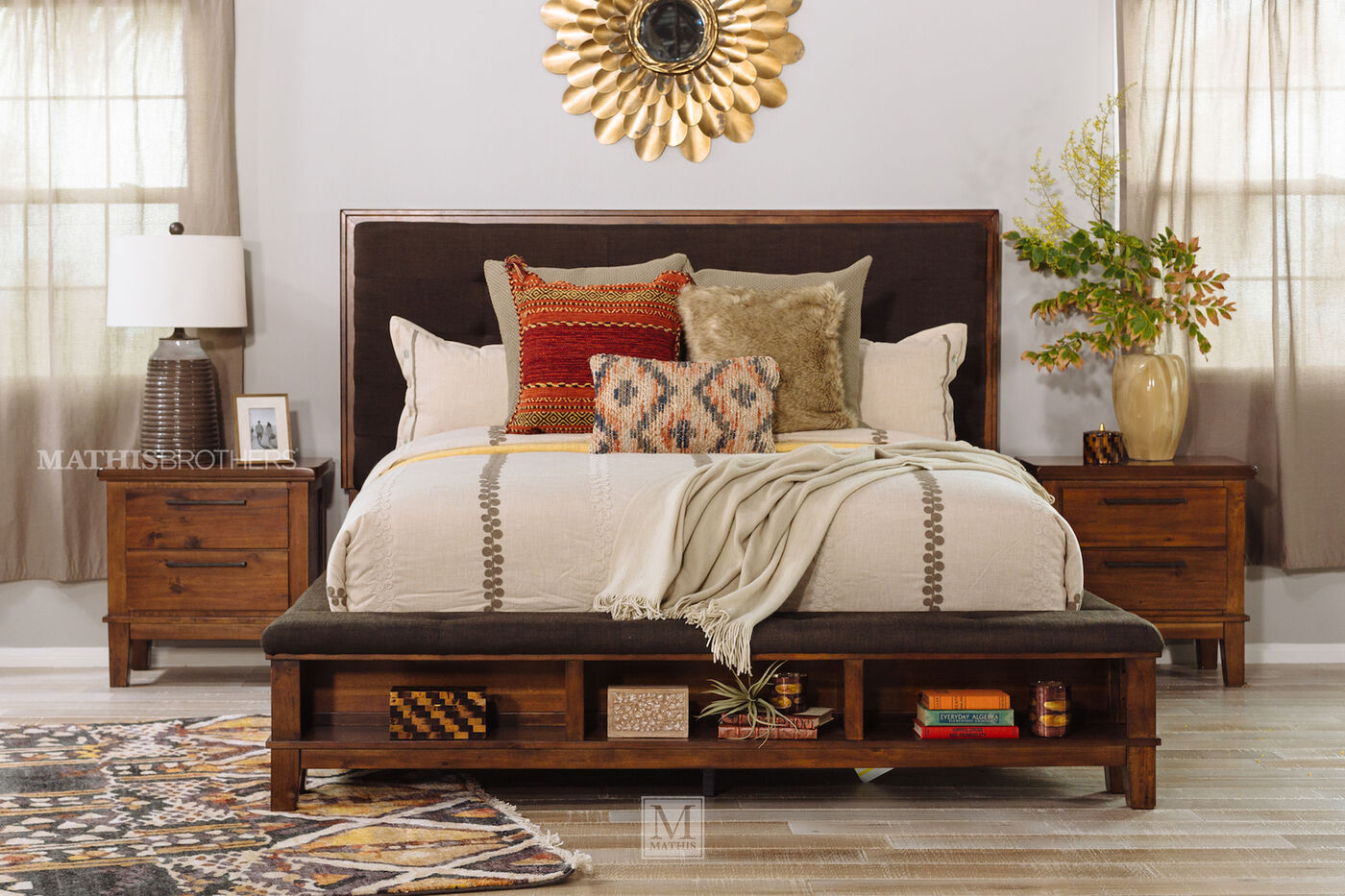 Four Piece Contemporary Storage Bedroom Set In Brown Mathis Brothers Furniture
