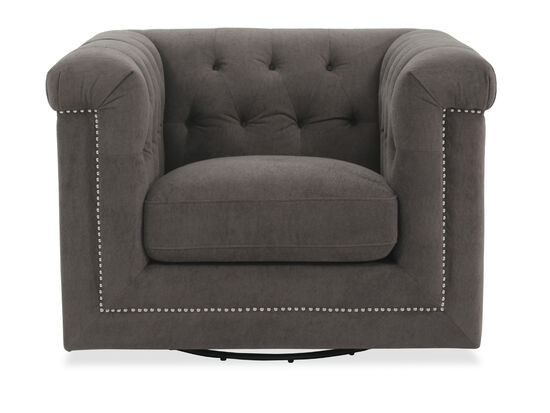 "Button-Tufted Contemporary 43"" Swivel Chair in Gray"
