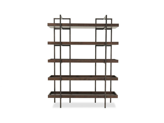 Five-Shelf Contemporary Open Bookcase in Medium Brown