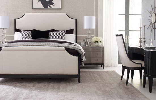 "67"" Contemporary Notched Queen Panel Bed in Platinum"