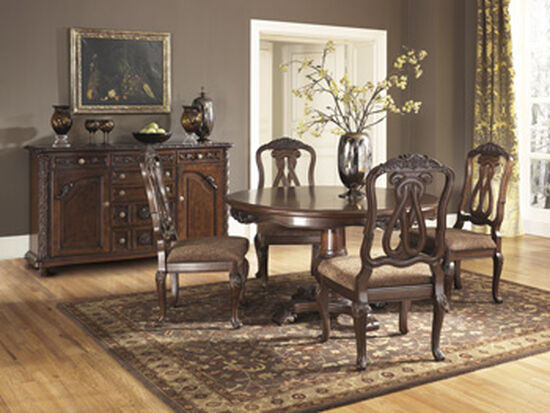"""Scrolled Back 23"""" Upholstered Side Dining Chair in Dark Brown"""