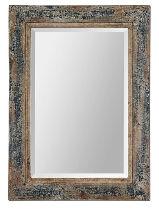 """38"""" Distressed Accent Mirror in Slate Blue"""