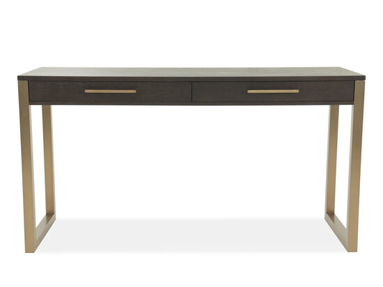 "68"" Contemporary Two-Drawer Tall Desk in Brown"