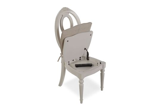 Contemporary Youth Chair with Storage Seat in White