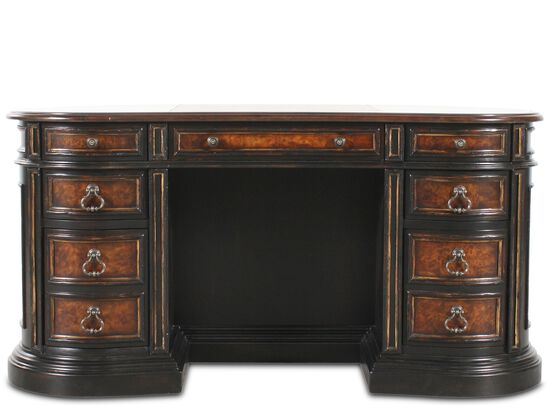 "60"" Traditional Seven-Drawer Kidney Desk in Black"