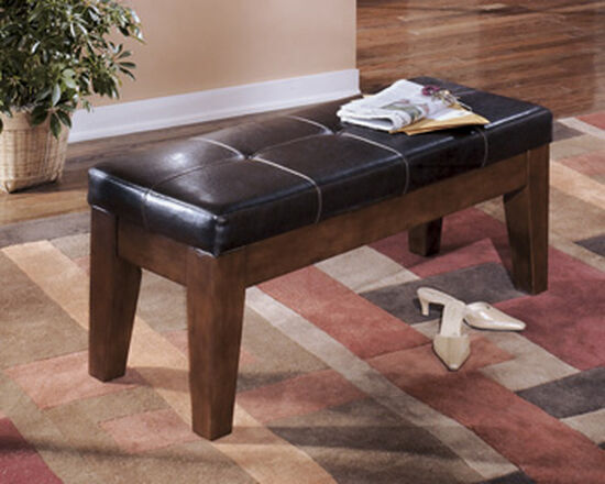 "Tufted 46.5"" Leather Bench in Brown"