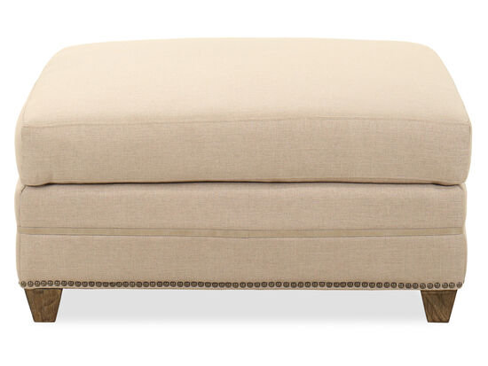 "Casual Nailhead-Accented 35"" Ottoman in Beige"