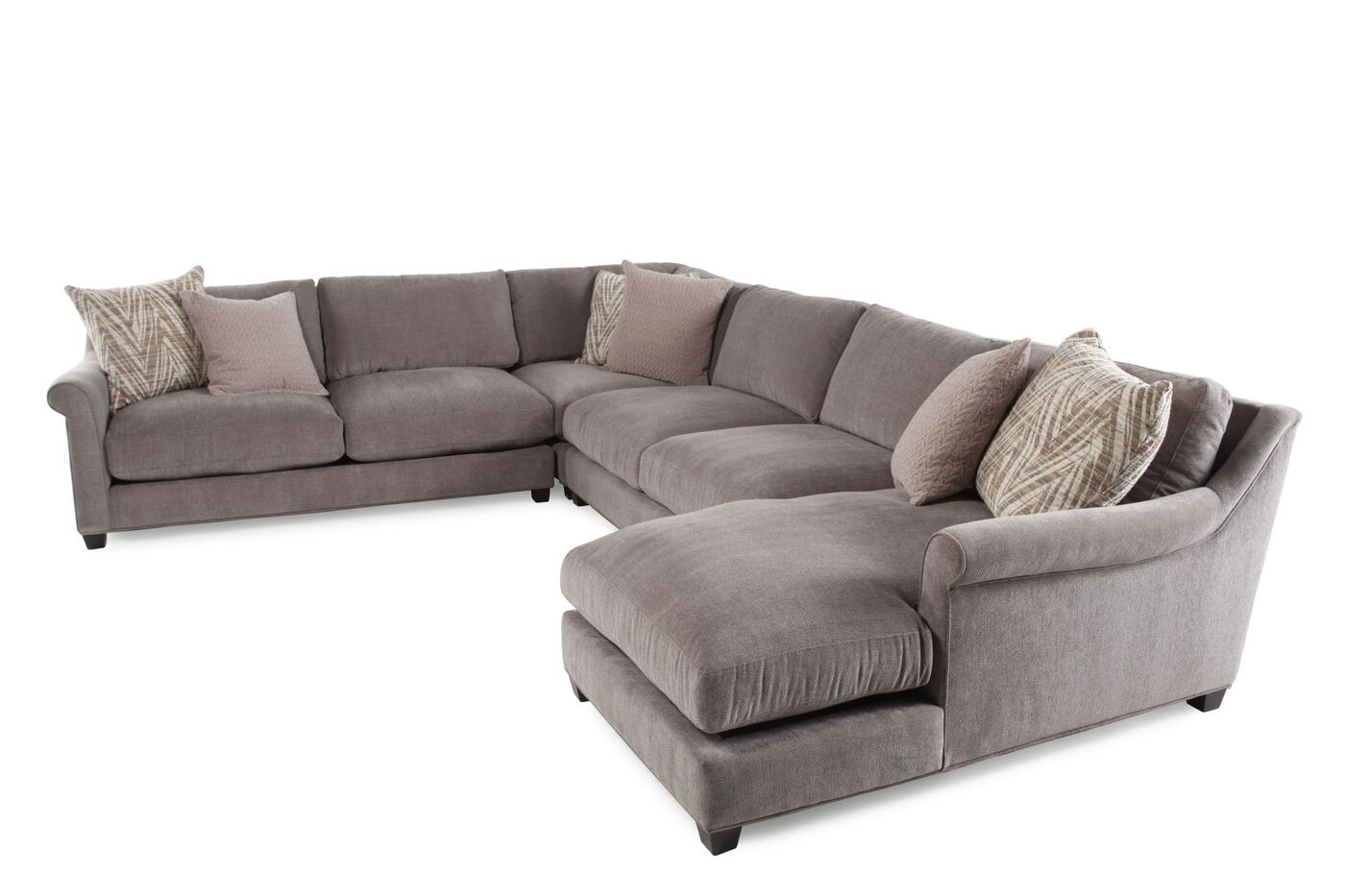 Four piece microfiber sectional in milk chocolate mathis for 4 piece recliner sectional sofa