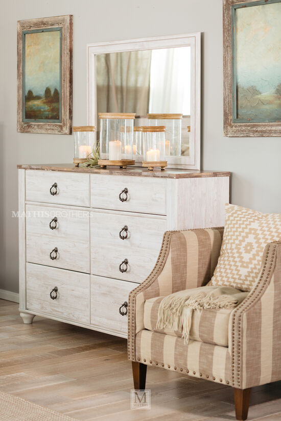 Two-Piece Casual Timeworn Dresser and Mirror in White