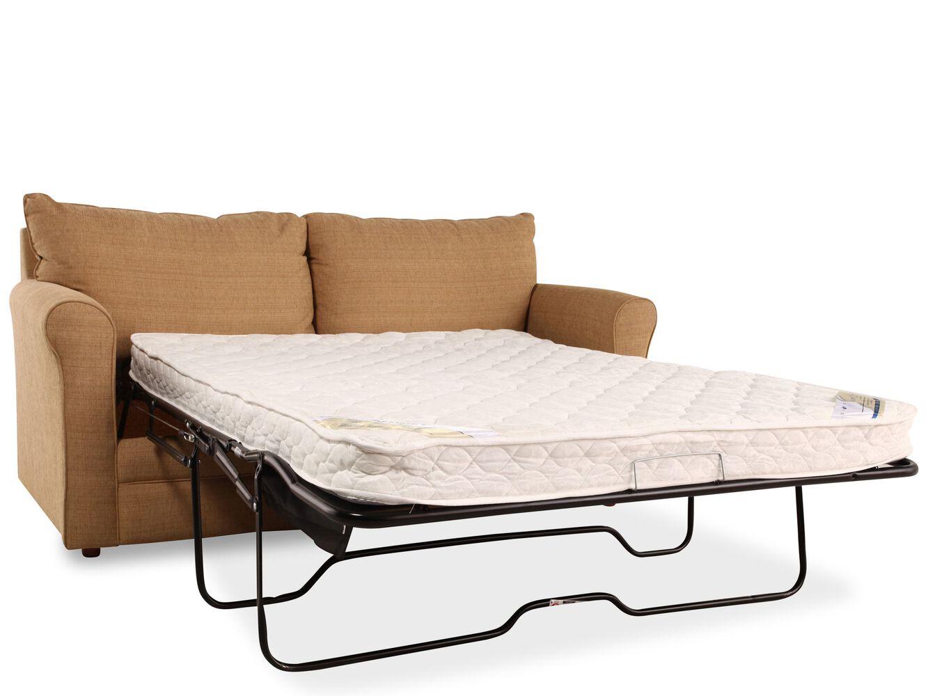 Transitional 82quot queen sleeper sofa in light brown for Transitional sectional sofa sleeper