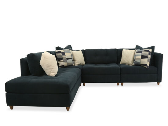 Four-Piece Casual Tufted Sectional in Blue