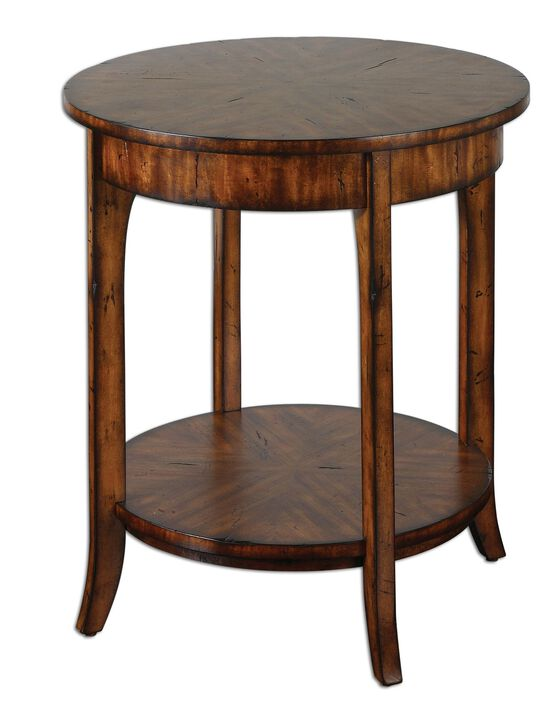 Open Bottom Shelf Round Lamp Table in Warm Old Barn