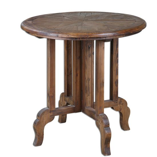 Curved Legs Accent Table in Brown