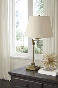 Ashley Arwel Antique Brass Finish Glass Table Lamp