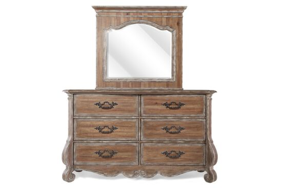 Two-Piece Traditional Dresser and Mirror in Brown