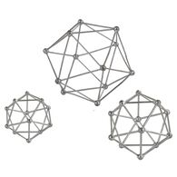 Three-Piece Atom Sculptures in Silver Leaf