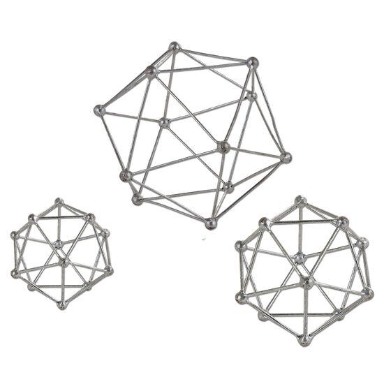 Three-Piece Atom Sculptures in Silver Leaf