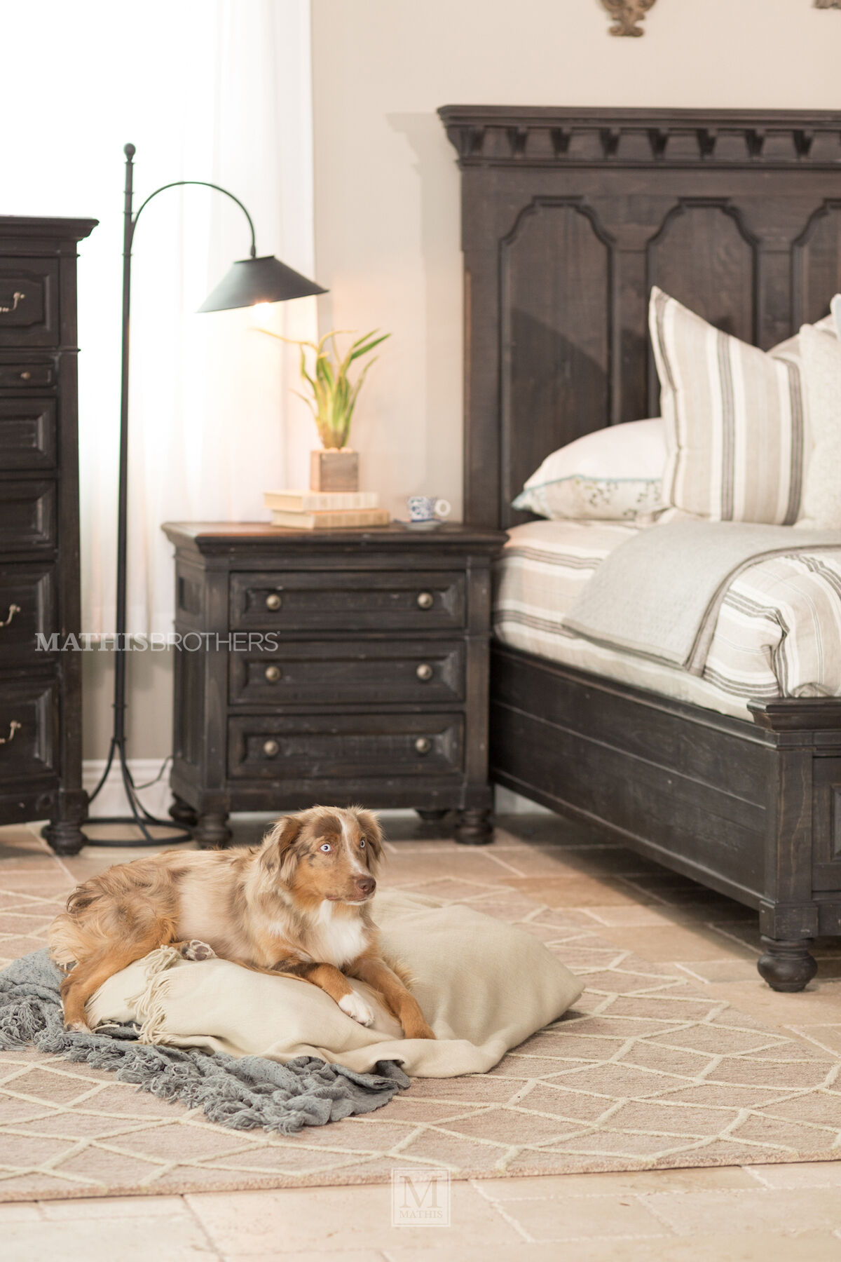 Four Piece Distressed Bedroom Set In Black