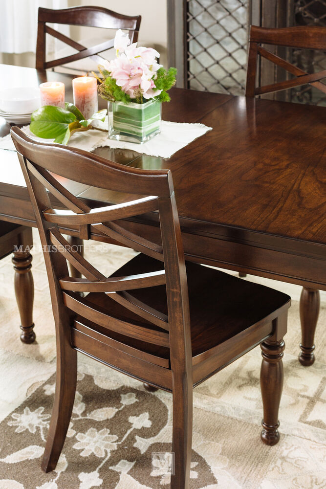 Ashley 70quot 88quot Turned Leg Traditional Dining Table