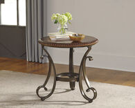 Twisted Rope-Edged Traditional End Table in Brown Cherry