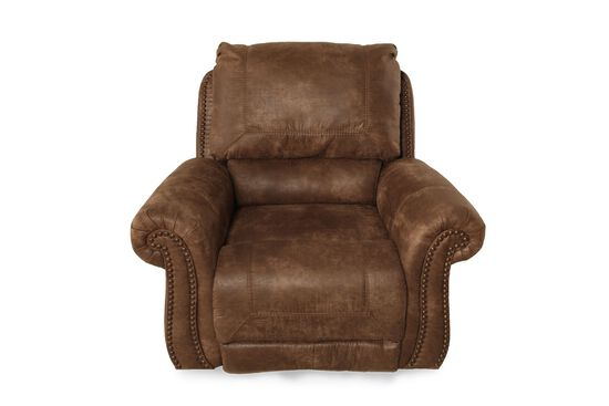"Nailhead Accented Contemporary 34"" Swivel Glider Recliner in Saddle Brown"