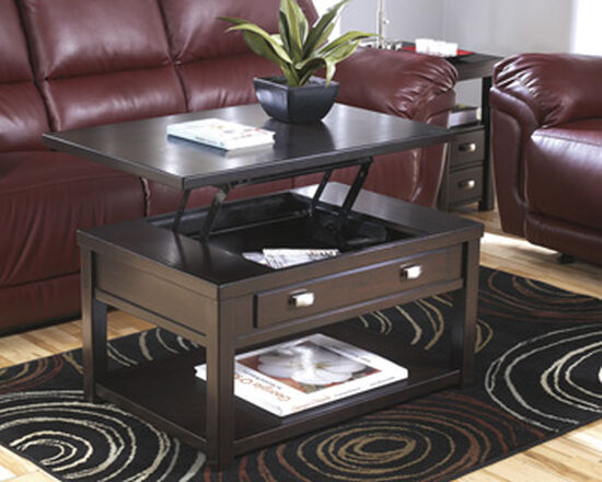 Lift-Top Rectangular Cocktail Table in Brown