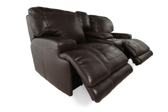 Power Reclining Leather Loveseat with Console in Dark Walnut