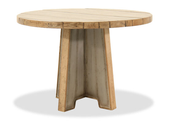 "Casual 44"" Round Pedestal Table with Aluminum Paneled Base in Light Brown"