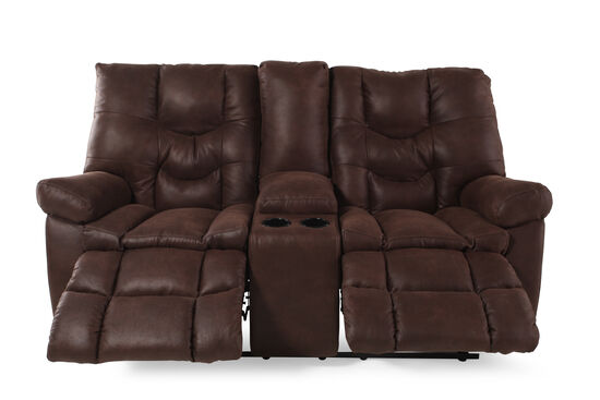 "Reclining Contemporary 49"" Loveseat with Console in Russet Brown"