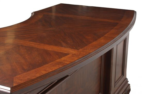 """66"""" Traditional Curved Executive Desk in Brown"""